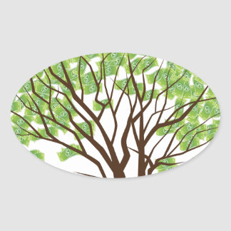 Money Tree Financial Growth Graphic Oval Sticker