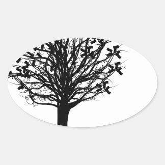 Money Tree Silhouette Oval Sticker