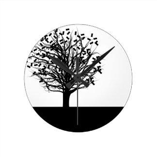 Money Tree Silhouette Round Clock