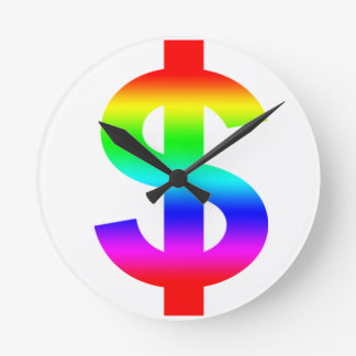Money US-Dollar Cute Silhouette Anime Round Clocks
