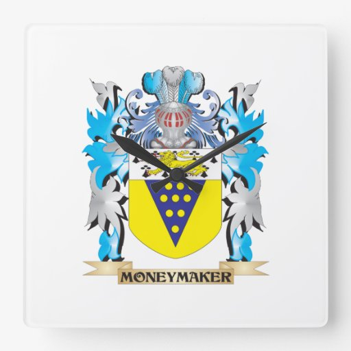 Moneymaker Coat of Arms - Family Crest Square Wallclock