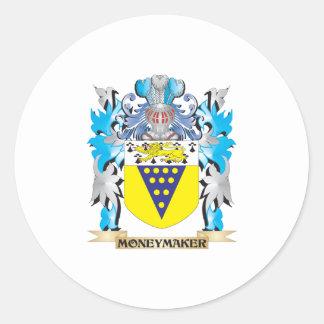 Moneymaker Coat of Arms - Family Crest Round Sticker