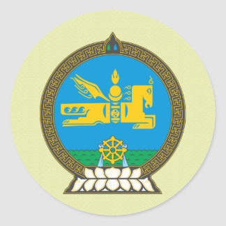 Mongolia Coat of Arms detail Classic Round Sticker