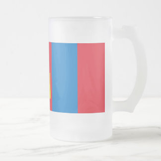 Mongolia Flag Frosted Glass Beer Mug