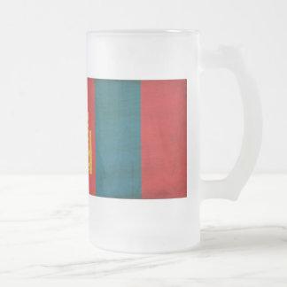 Mongolia Flag Frosted Glass Mug