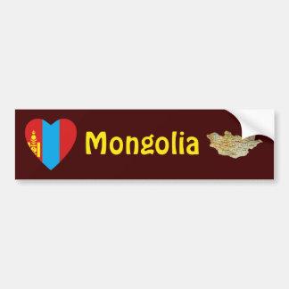 Mongolia Flag Heart + Map Bumper Sticker