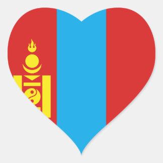Mongolia Flag Heart Sticker