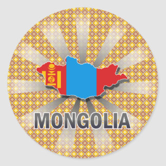 Mongolia Flag Map 2.0 Classic Round Sticker