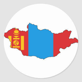 Mongolia flag map classic round sticker