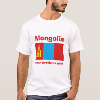 Mongolia Flag + Map + Text T-Shirt