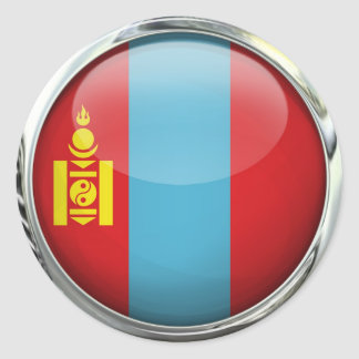 Mongolia Flag Round Glass Ball Classic Round Sticker