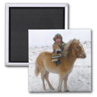 Mongolian memories1 square magnet