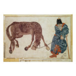 Mongolian nomad taking his horse to water poster