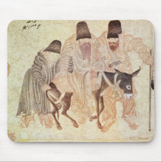 Mongolian nomads with a donkey, 15th century mouse mat