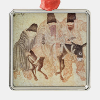 Mongolian nomads with a donkey, 15th century Silver-Colored square decoration