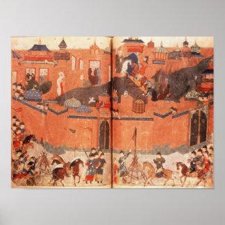 Mongols under the leadership of Hulagu Khan Poster
