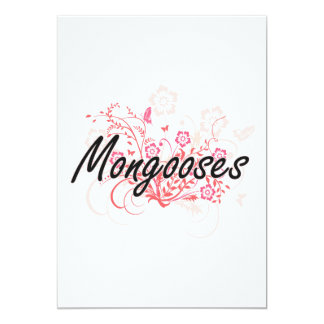 Mongooses with flowers background 13 cm x 18 cm invitation card