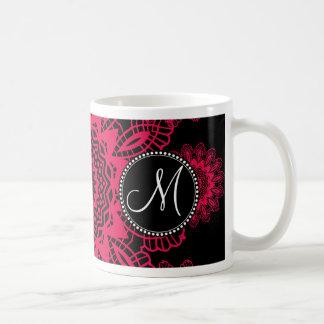 Mongram Black Hot Pink Fuchsia Lace Snowflake Basic White Mug