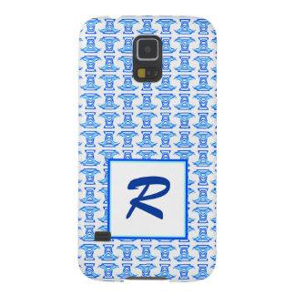 Mongram Blue White Folk Pattern Galaxy S5 Cover