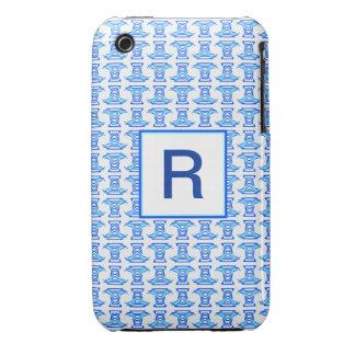 Mongram Blue White Folk Pattern iPhone3 Case