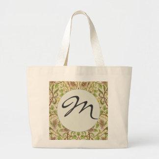 Mongram Chic Decorator Floral Wallpaper Daffodil Large Tote Bag