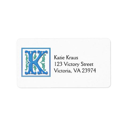 Mongram Initial K Label