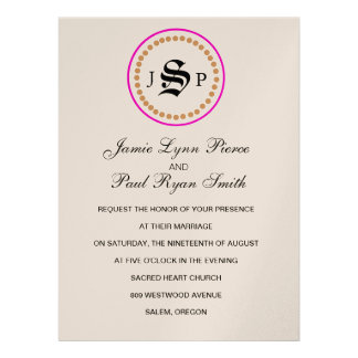 Mongram Suite Invitation in Champange Hot Pink