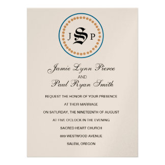 Mongram Suite Invitation in Champange Teal Blue