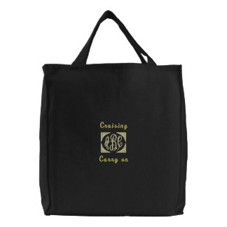 Mongrammed Cruising Carry on -dark Embroidered Tote Bag