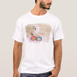 mongrel sitting in front of two bowls with dog T-Shirt
