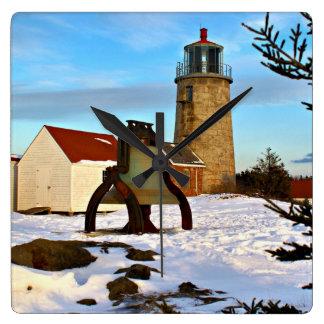 Monhegan Island Lighthouse, Maine Square Wall Clock