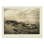 Monhegan Island, Maine 1896 Panaromic View Poster