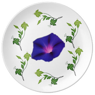 Moning Glory with Green Leaves Porcelain  Plate
