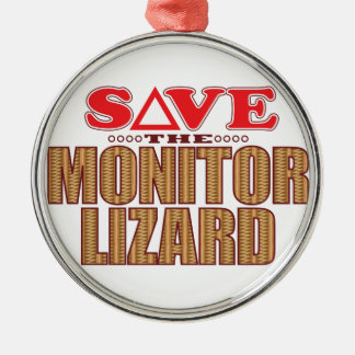 Monitor Lizard Save Silver-Colored Round Decoration