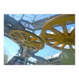 """Monjuic Cable Car Gears, Aerial Tramway, Barcelona 5"""" X 7"""" Invitation Card"""