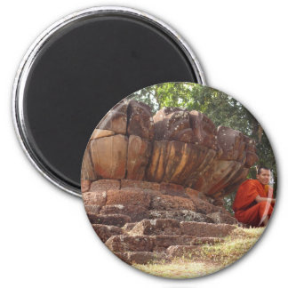 Monk at Elephant Terrace, Angkor Wat 6 Cm Round Magnet