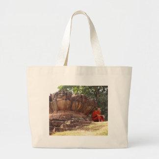 Monk at Elephant Terrace Angkor Wat Canvas Bag