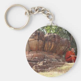 Monk at Elephant Terrace, Angkor Wat Basic Round Button Key Ring