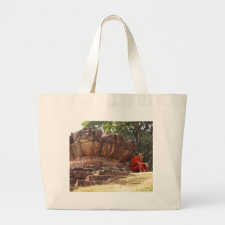 Monk at Elephant Terrace, Angkor Wat Jumbo Tote Bag