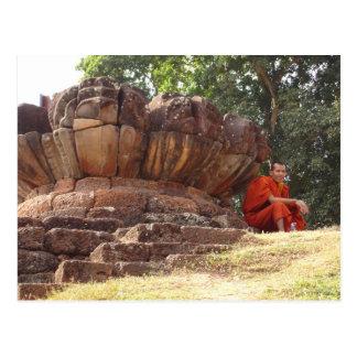 Monk at Elephant Terrace, Angkor Wat Postcard