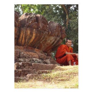 Monk at Elephant Terrace, Angkor Wat Post Card