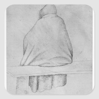 Monk seated on a bench square sticker