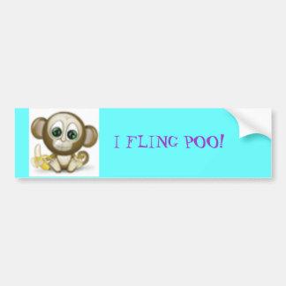 monkey3633, I FLING POO! Car Bumper Sticker
