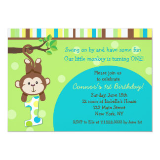 Monkey 1st Birthday Invitations