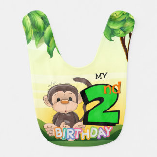 Monkey 2nd Birthday Party Bib