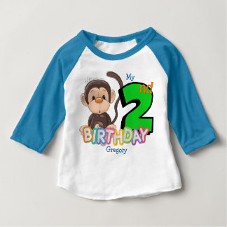 Monkey 2nd Birthday Party Custom Baby T-Shirt