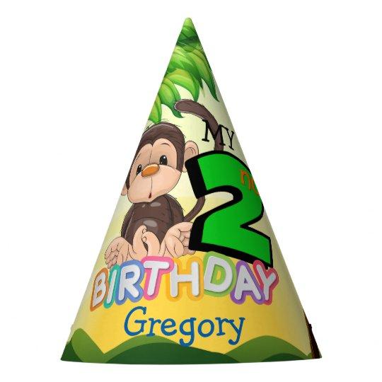Monkey 2nd Birthday Party Custom Party Hat