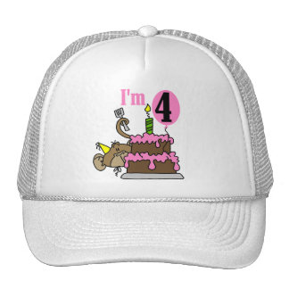Monkey 4th Birthday Tshirts and Gifts Cap