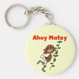 Monkey Ahoy Matey Tshirts and Gifts Basic Round Button Key Ring