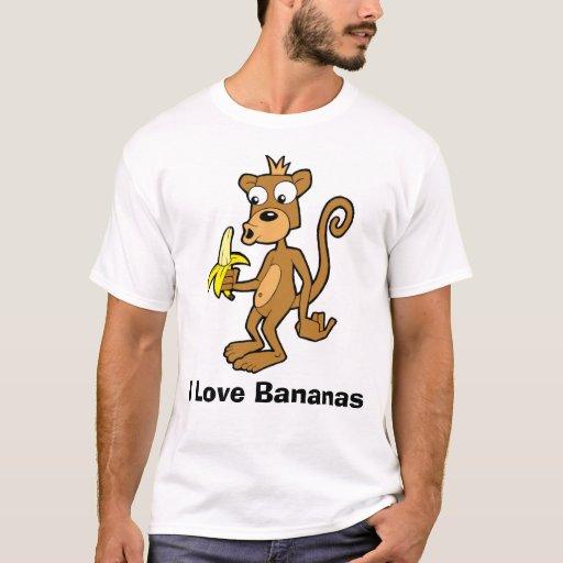 Monkey and Banana, I Love Bananas T-Shirt
